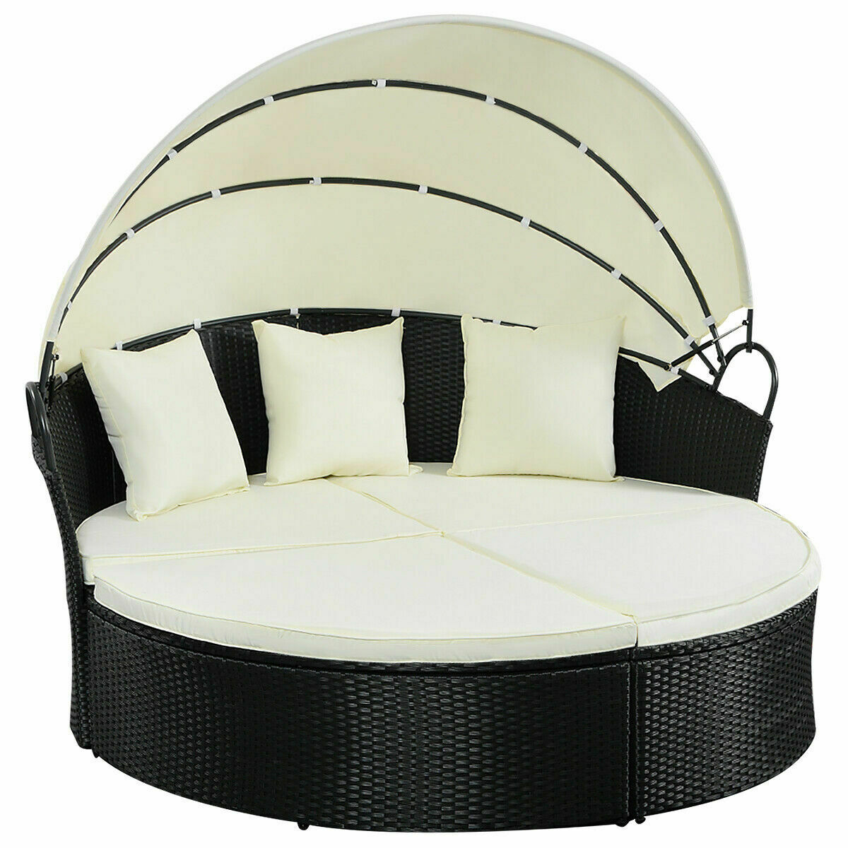 CityCW Outdoor Patio Sofa Furniture Round Retractable Canopy Daybed Black  Wicker Rattan